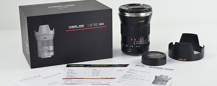 Kerlee 35mm f/1.2 photographic lens for Nikon, Canon, Sony and Pentax
